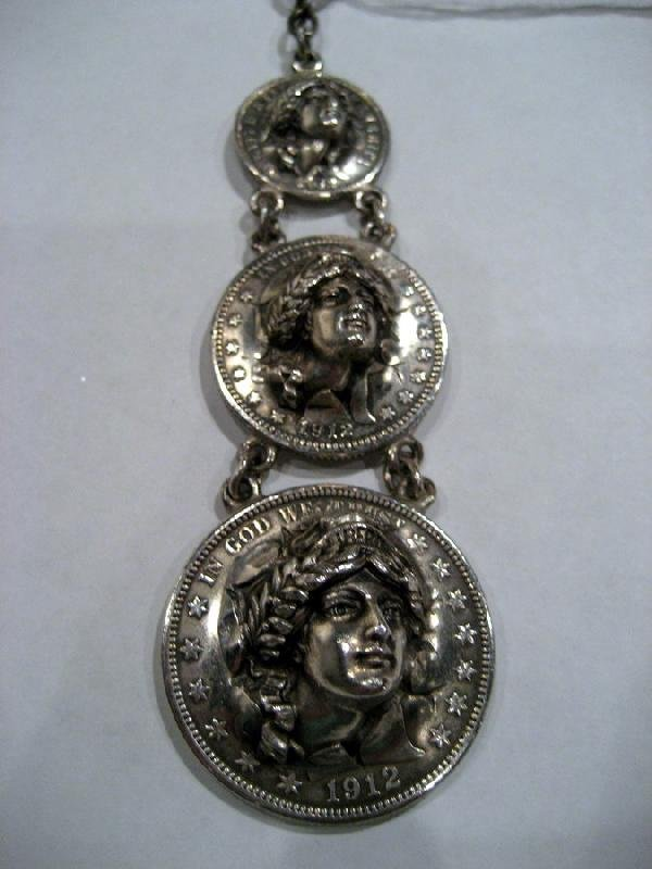 Watch fob made from three 1912 U.S. silver coins