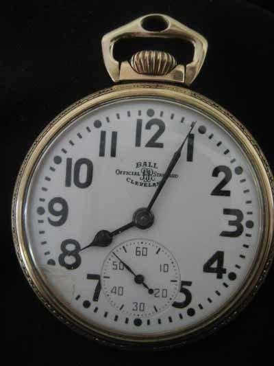 Ball 10Kt gold filled open face pocket watch