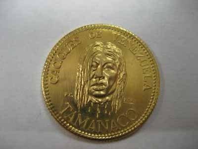 1957 Venezuelan Cacique Gold Coin - Tamanaco