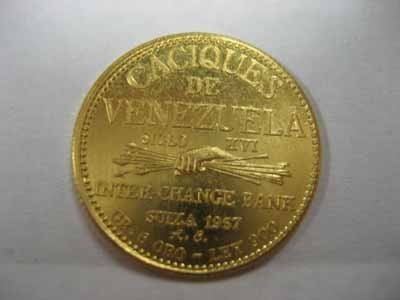 1957 Venezuelan Cacique Gold Coin - Tamanaco - 2