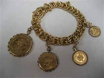 18Kt Gold Bracelet w/ 4 Mexican Gold Coins - 101g