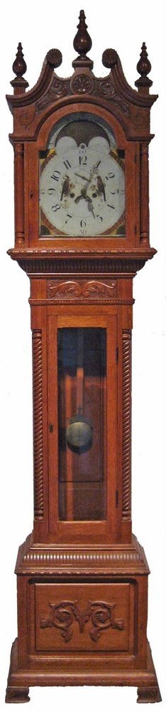 Early Oak Tall Case Clock with Painted Dial