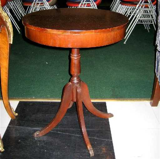 Round Mahogany Side Table With Brass Claw Feet