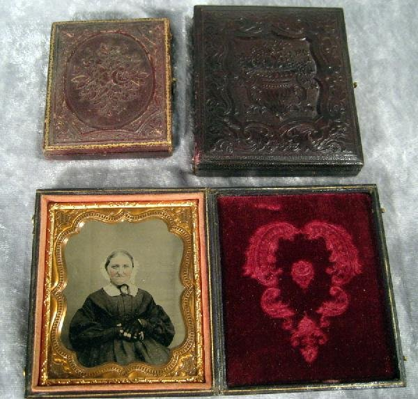 3 Antique Daguerreotype Photographs in Leather Cases
