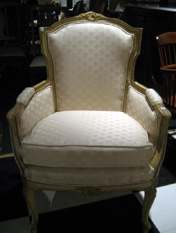 French Painted Wooden Arm Chair