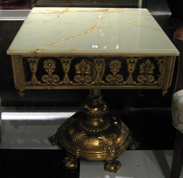 Gilded Metal Base Side Table w/Green Onyx Top