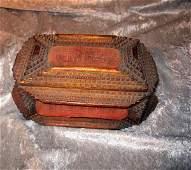 Tramp Art Lidded Wooden Jewelry Box