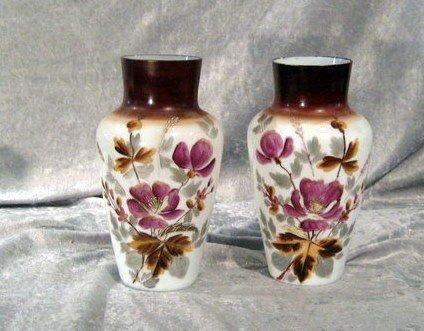 Pair Hand Painted Bristol Glass Vases