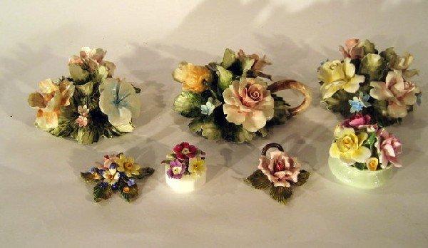 3 Capodimonte Candlesticks & 4 Porcelain Flower Groups