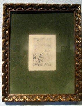 "Auguste Renoir Etching ""At the Beach"""