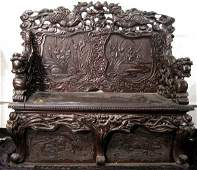Antique Chinese Ornate Heavily Carved Bench