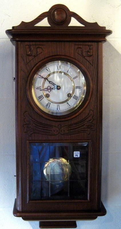 Modern Oak Case Wall Clock