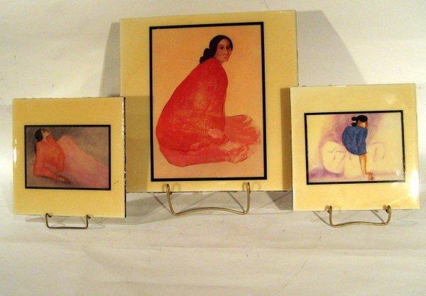 3 Ceramic Tiles with Artwork of R.C. Gorman 1932