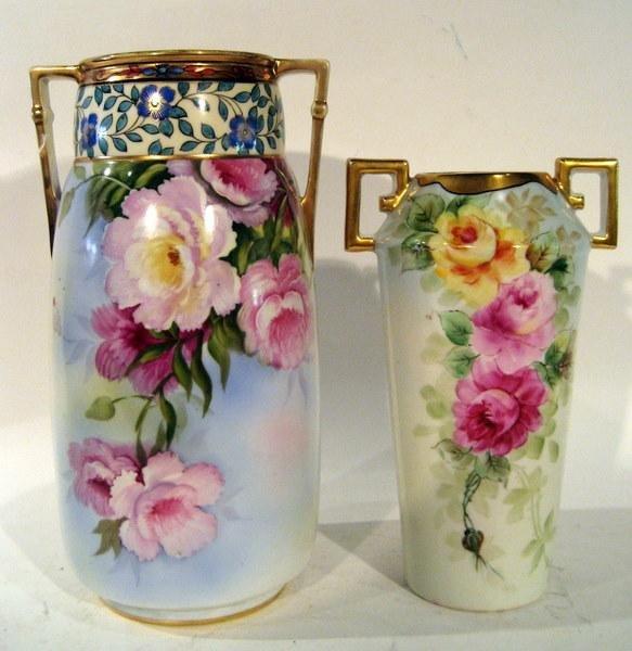 2 Hand Painted Vases: Noritake & C.T. Altwasser Silesia