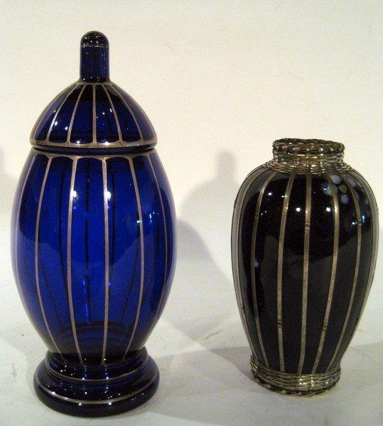 2 Pcs Cobalt Blue Glass:  Lidded Jar & Vase