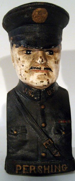 Cast Iron Coin Bank, WWI General Pershing, Antique