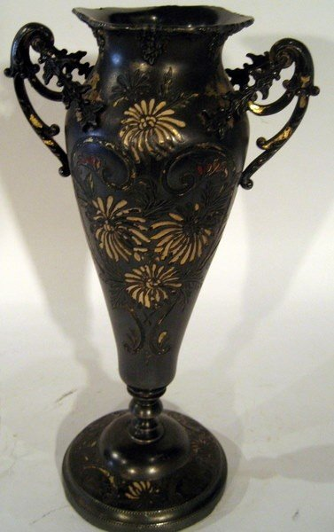 Silver Plated 2-Handled Vase, Etched & Painted Floral
