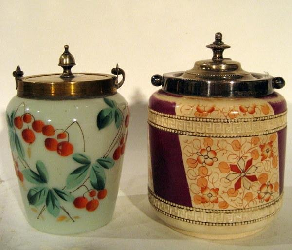 2 Mustard Pots: Ceramic w/Flowers, Glass w/Cherries
