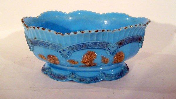 "Blue Oval Glass Bowl ""Chrysanthemum"" Pattern, Vintage"