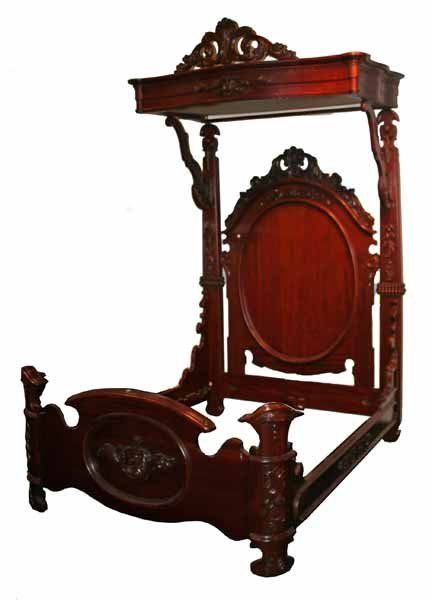 Mahogany Queen Size Half Tester Bed, Heavily Carved