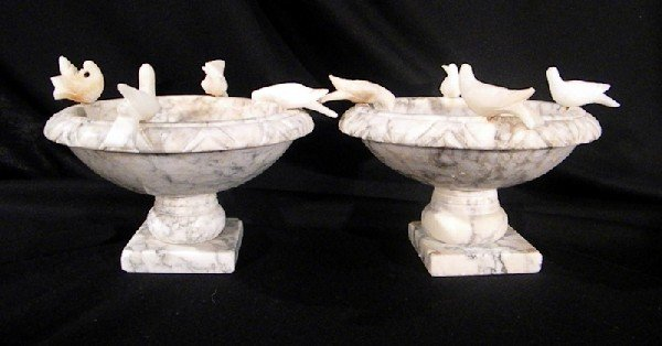 2 White Miniature Marble Fountains with Perched Birds