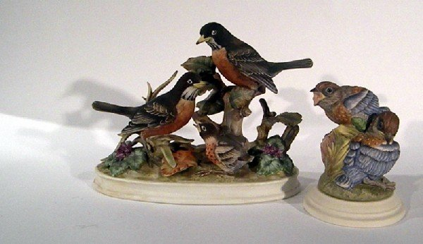 """Andrea porcelain bird grouping """"Family of Robins"""" and B"""