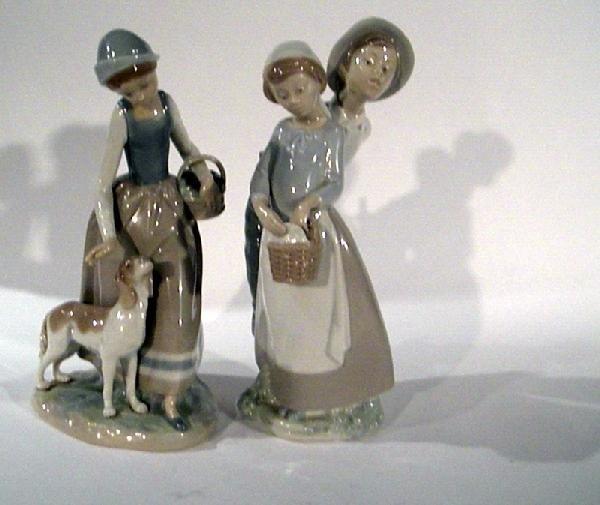 2 NAO of Spain Figurines: Woman w/ Dog and Man & Woman