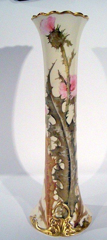 Darcy's Hand Painted Thistle Porcelain Vase, Antique