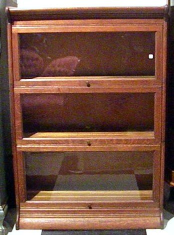 Oak 3-Section Barrister Bookcase, Antique, Glass Panel