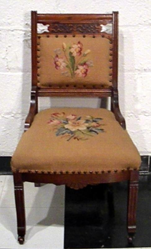 Victorian Oak Side Chair, Floral Needlepoint, Antique