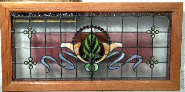 """Oak Framed Stained and Leaded Glass Panel, 19.75"""" x 40"""""""