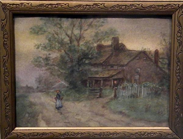 Framed Water Color - Landscape, Woman, & Farmhouse