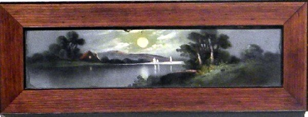 Framed Pastel- Night Landscape, House, Lake,  Full Moon