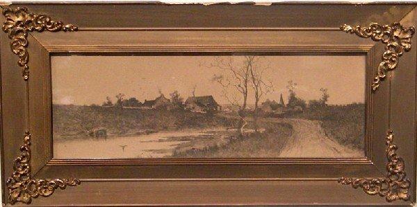 Framed Etching -Landscape, Village, Stream, Road, Trees