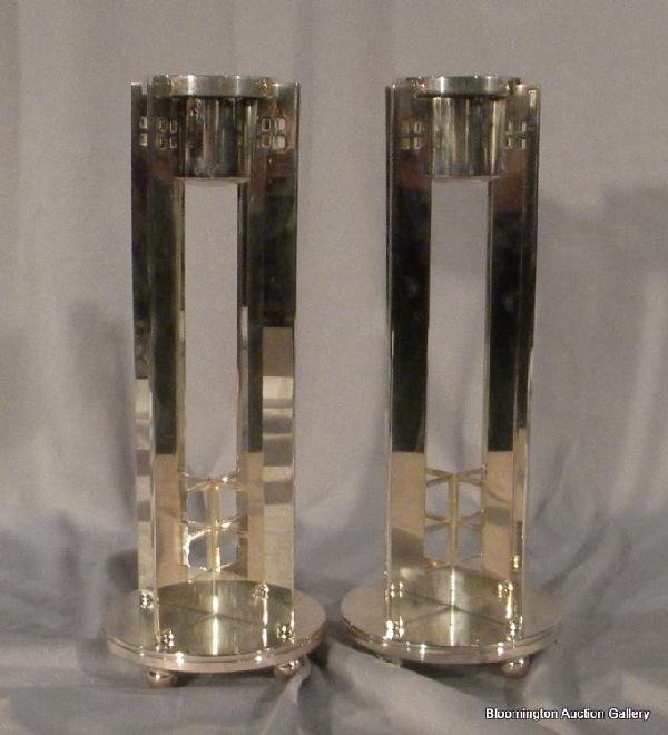 Pair Silver Plated Candlesticks signed Powell