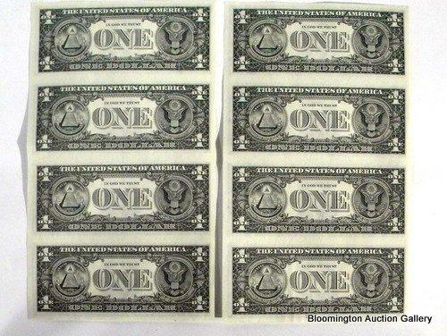 2 Uncut US 1 Dollar Bill Sheets 1985 - 2