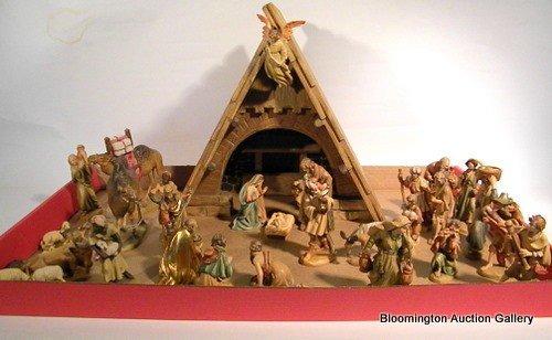 34 Pc Anri Carved Wood Nativity Set