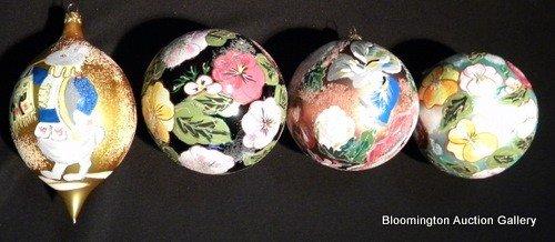 4 Christopher Radko Hand Painted Globe Ornaments