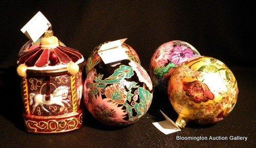 6 Christopher Radko Hand Painted Globe Ornaments