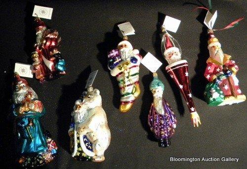7 Christopher Radko Hand Painted Santa Ornaments