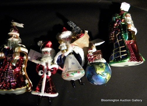 5 Christopher Radko Hand Painted Santa Ornaments