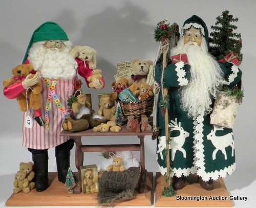 2 Lynn Haney Santas - Just Makin Bears, White Deer Sant