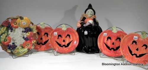 6 fitz floyd items 4 pumpkin plates witch