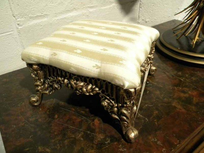 Gilded Metal Footstool, Upholstered Top