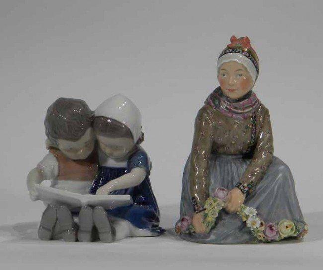 Copenhagen Figurine of Woman and B& G Figurine 2 Girls