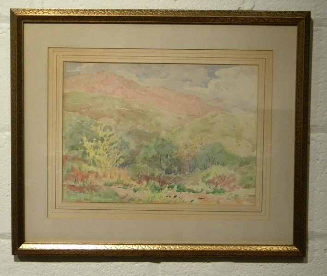 Watercolor Painting signed Julie Haskell Oleson, Antiqu