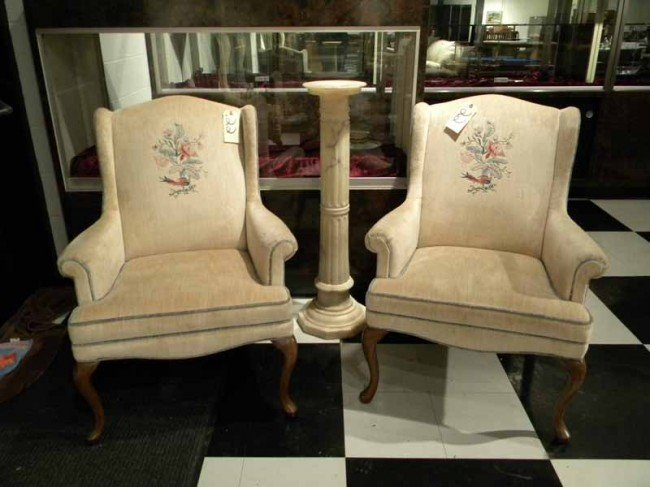 Pr Off-White Wing Back Armchairs, Crosstitch