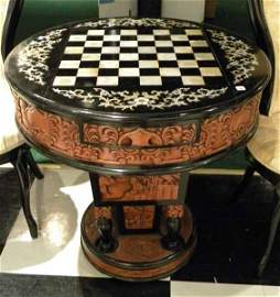 Carved Chinese Table, Chess Board Top & Scenic Panels