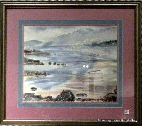 Framed Watercolor Beach Scene sg Mary Walker