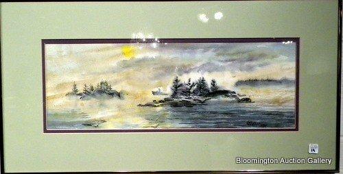 Framed Watercolor Landscape sg Mary Walker